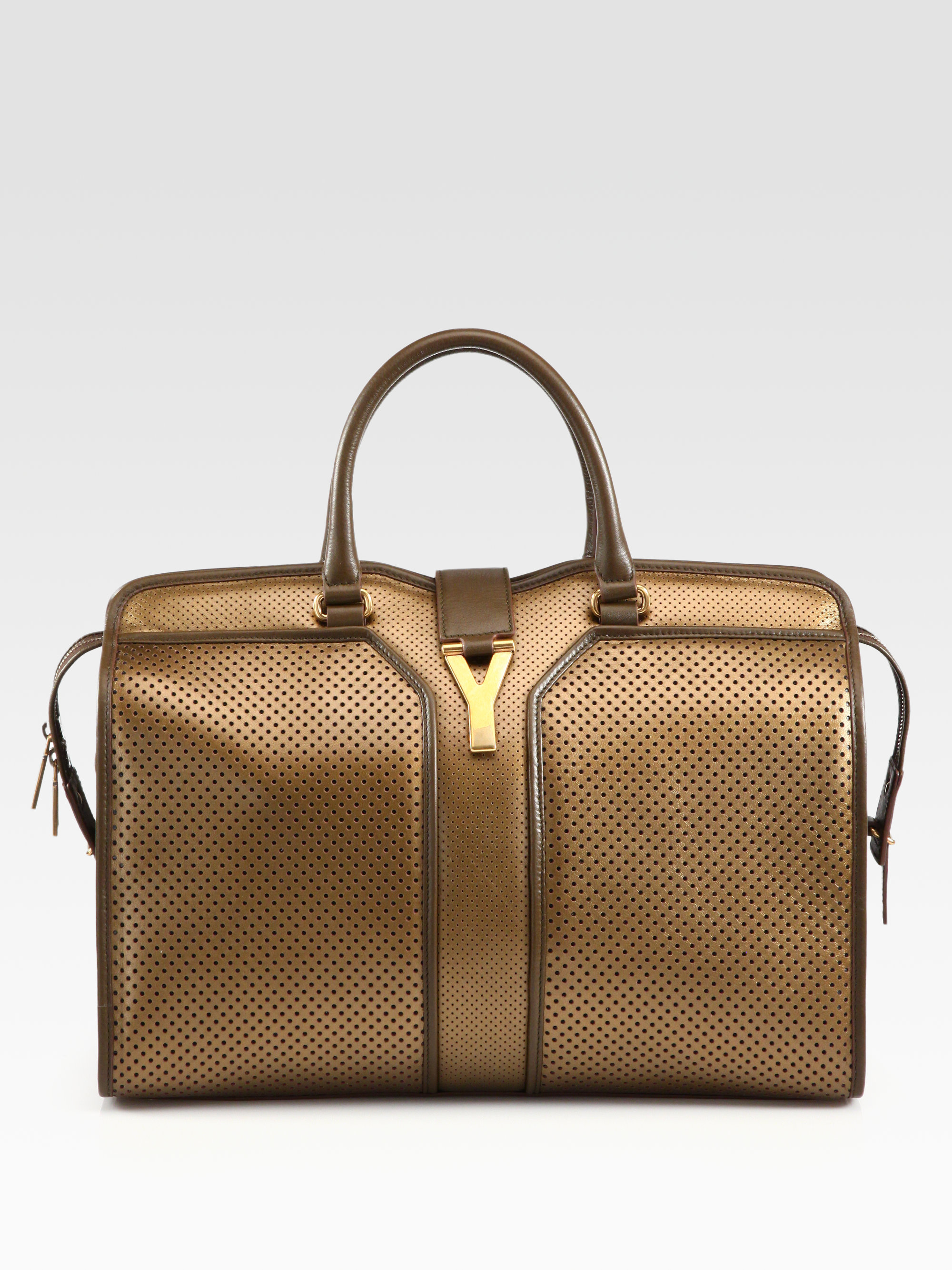 Saint laurent Ysl Cabas Chyc Perforated Large East West Bag in ...