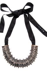 Marni Moonstone Embellished Ribbon Tie Necklace - Lyst