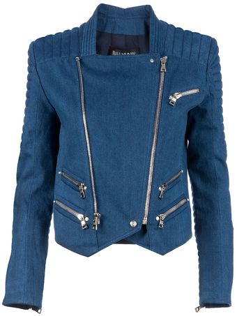 Balmain Denim Biker Jacket - Lyst