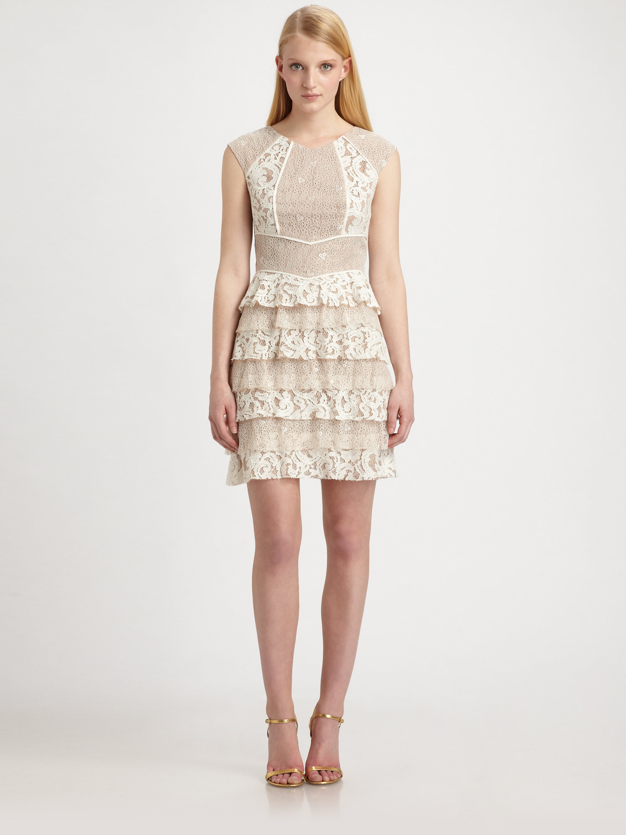 00590a84979 BCBGMAXAZRIA Kayla Lace Dress in Natural - Lyst