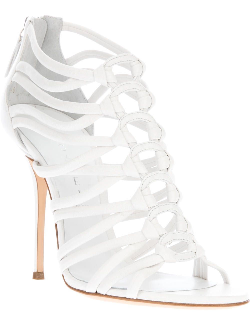 5523ba258 Lyst - Casadei Strappy Stiletto Sandal in White