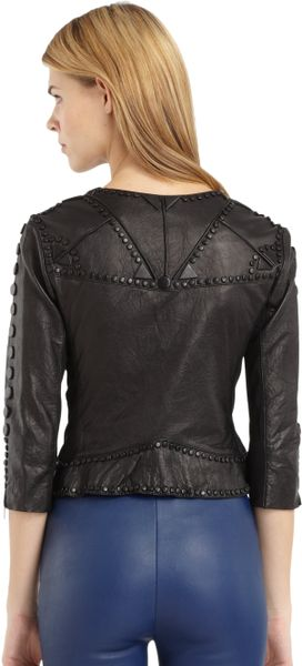 Catherine Malandrino Cropped Leather Jacket in Brown   Lyst