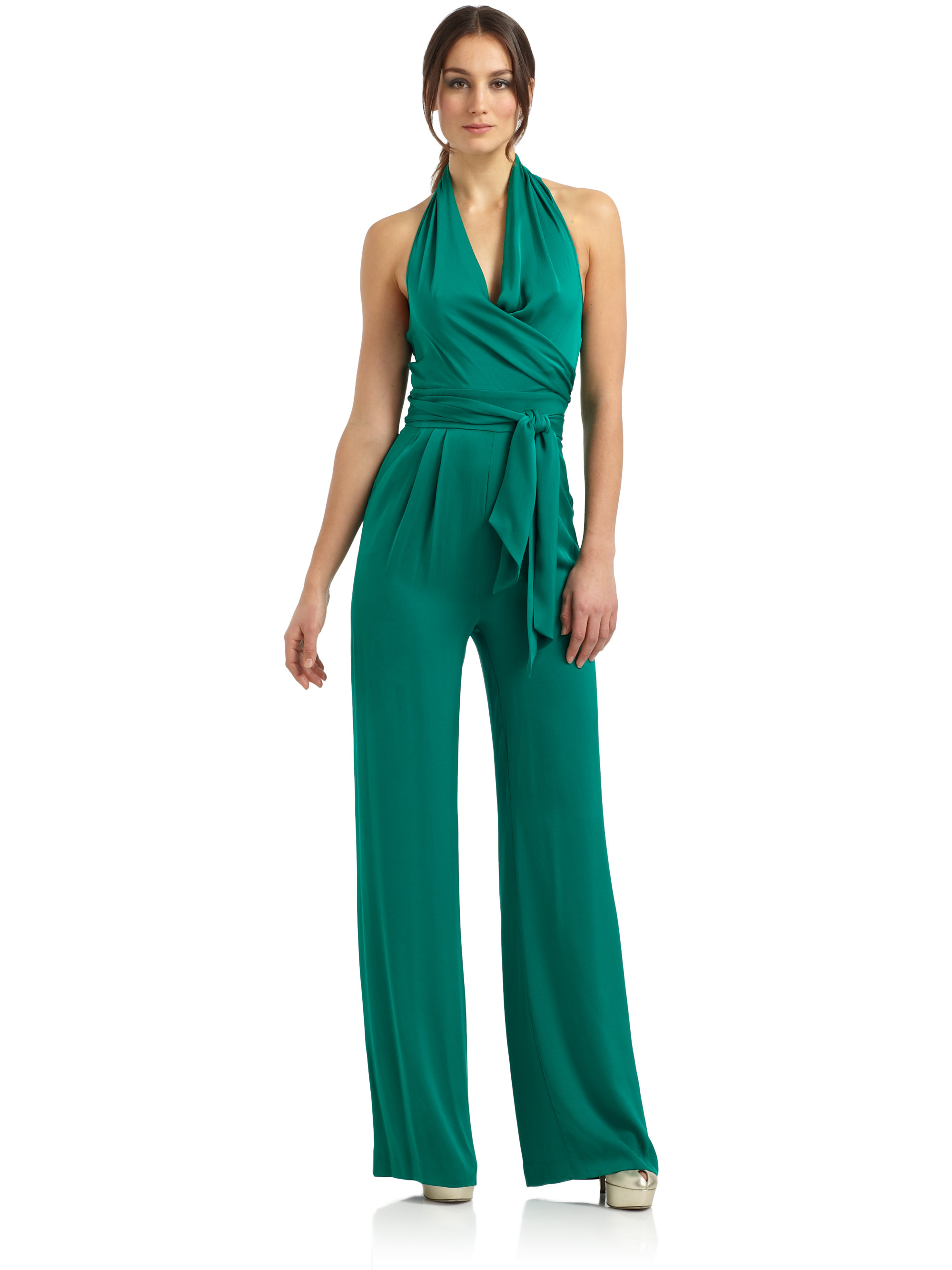 ad82a6241605 Lyst - Catherine Malandrino Stretch Silk Halter Jumpsuit in Blue