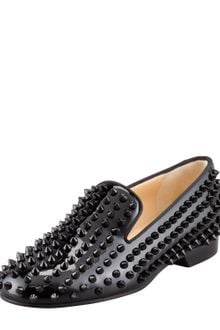 Christian Louboutin Rolling Spikes Patent Smoking Slipper Black - Lyst