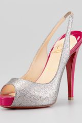 Christian Louboutin No Prive Glittered Slingback Red Sole Pump Grenadine - Lyst