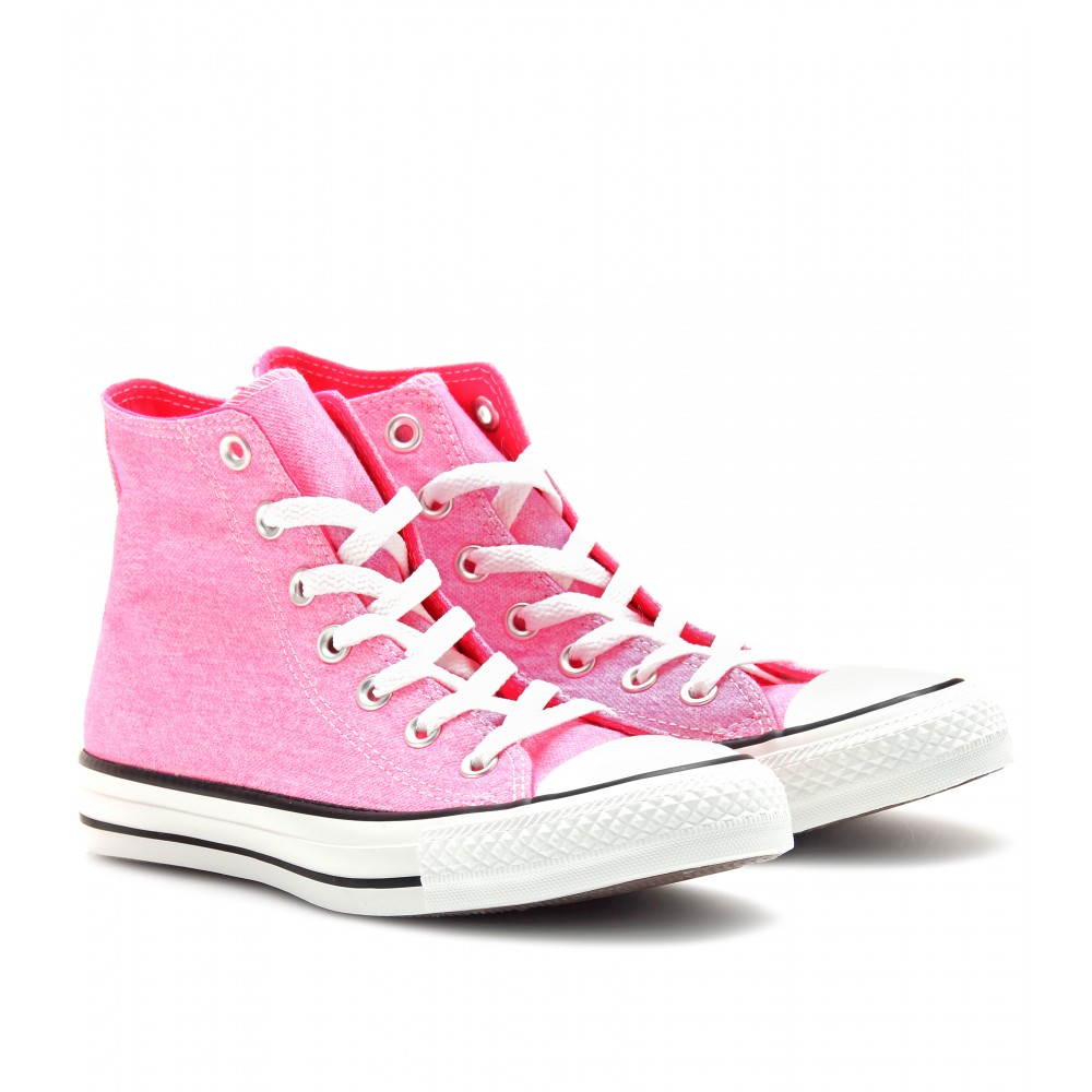 converse chuck taylor all star high top sneakers in pink lyst. Black Bedroom Furniture Sets. Home Design Ideas