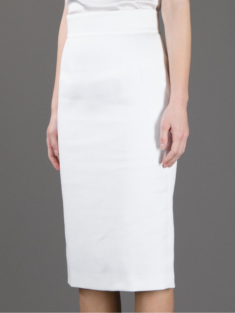 dolce gabbana pencil skirt in white lyst
