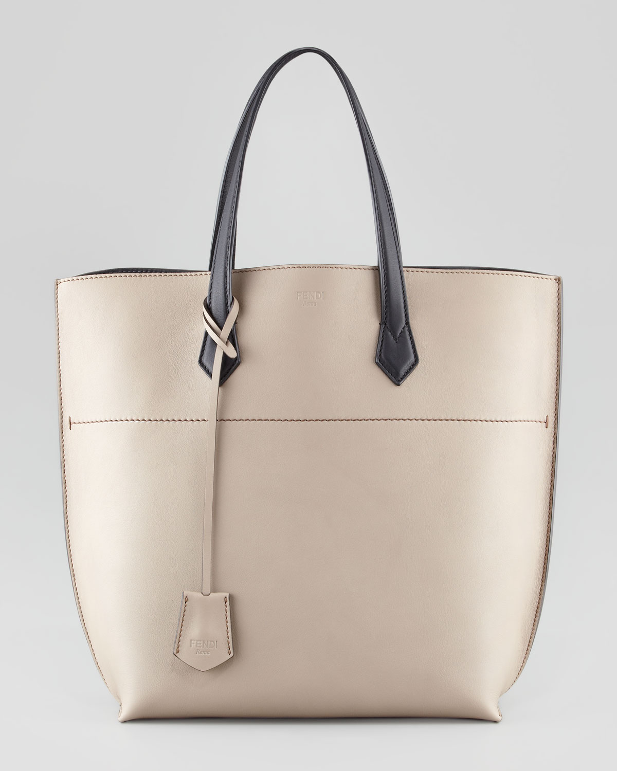75223fb56eb ... cheapest lyst fendi leather shopping tote bag in natural 0026d b110e