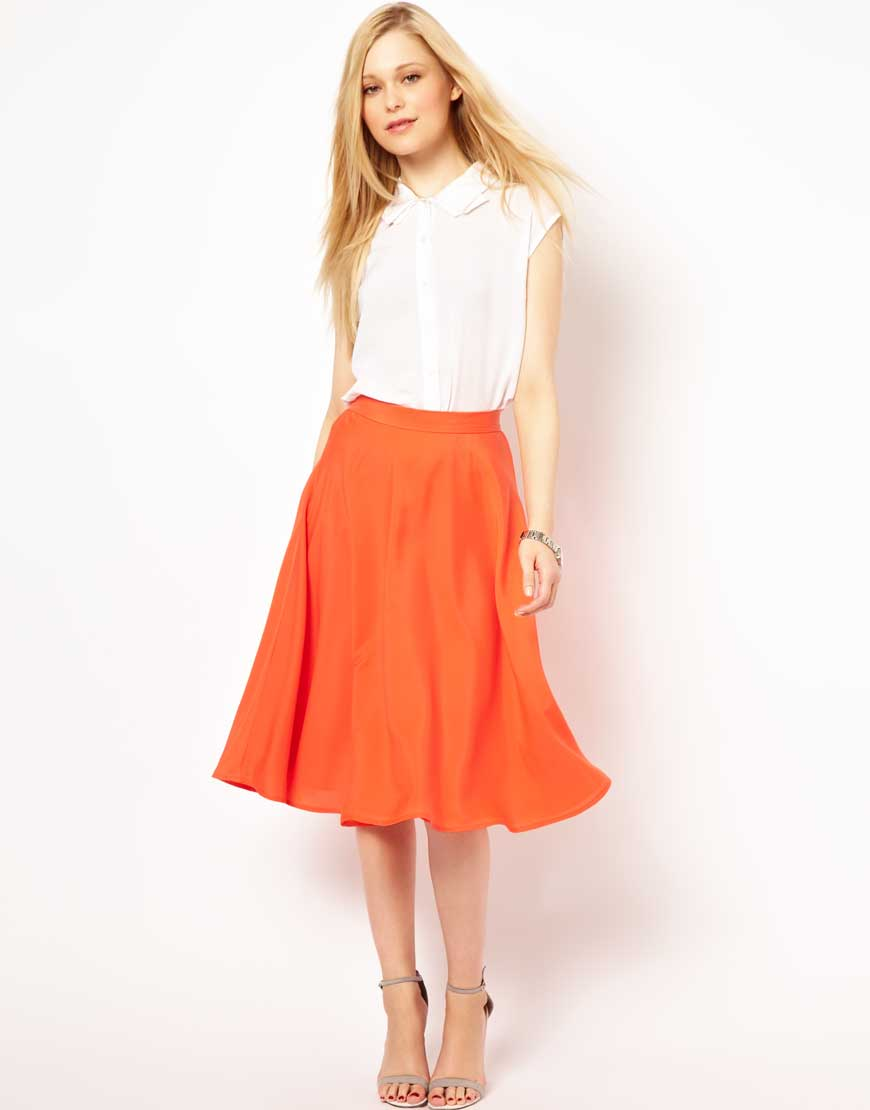 French connection Midi Skirt in Orange | Lyst