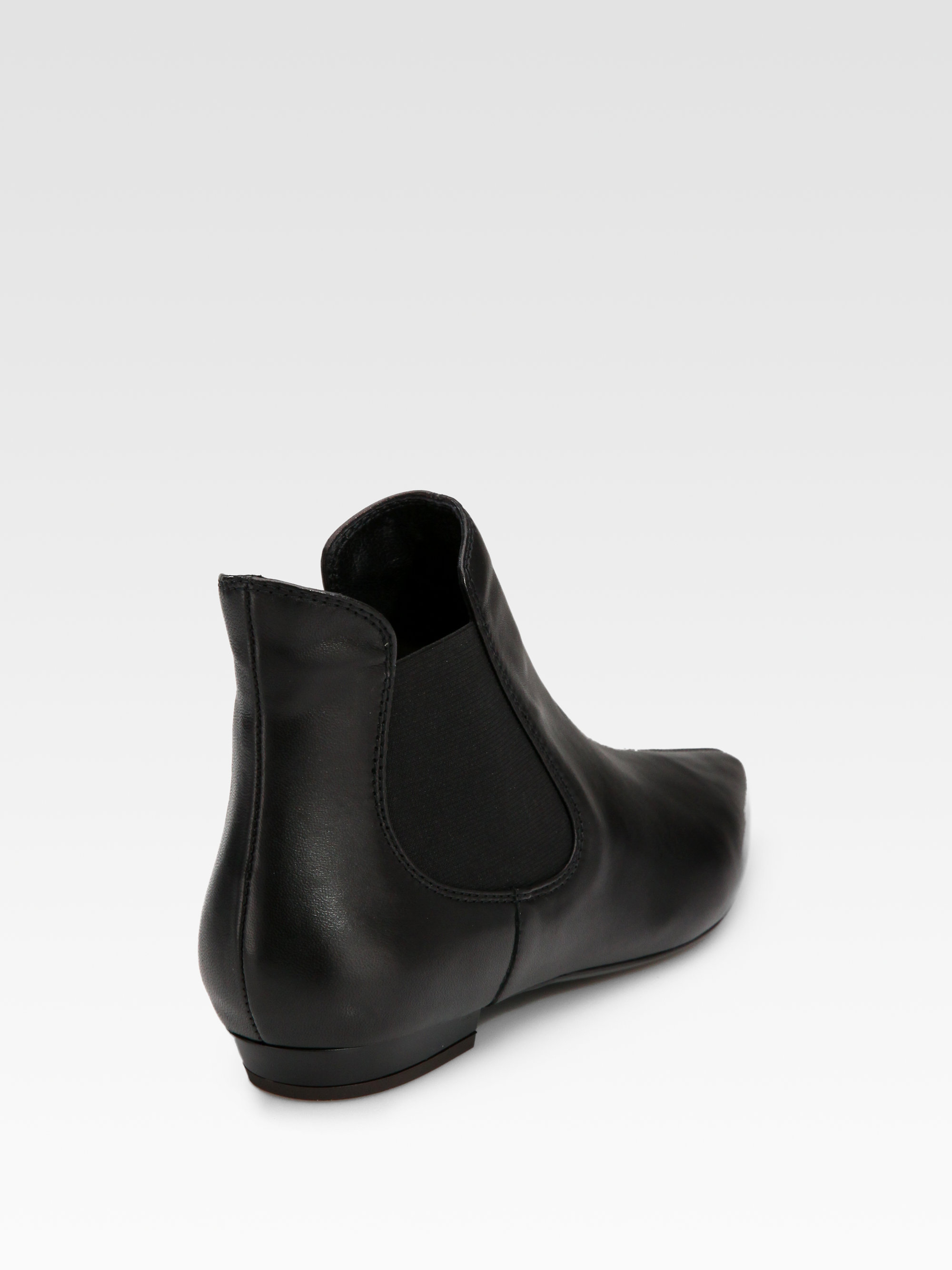 Giuseppe zanotti Flat Leather Ankle Boots in Black | Lyst