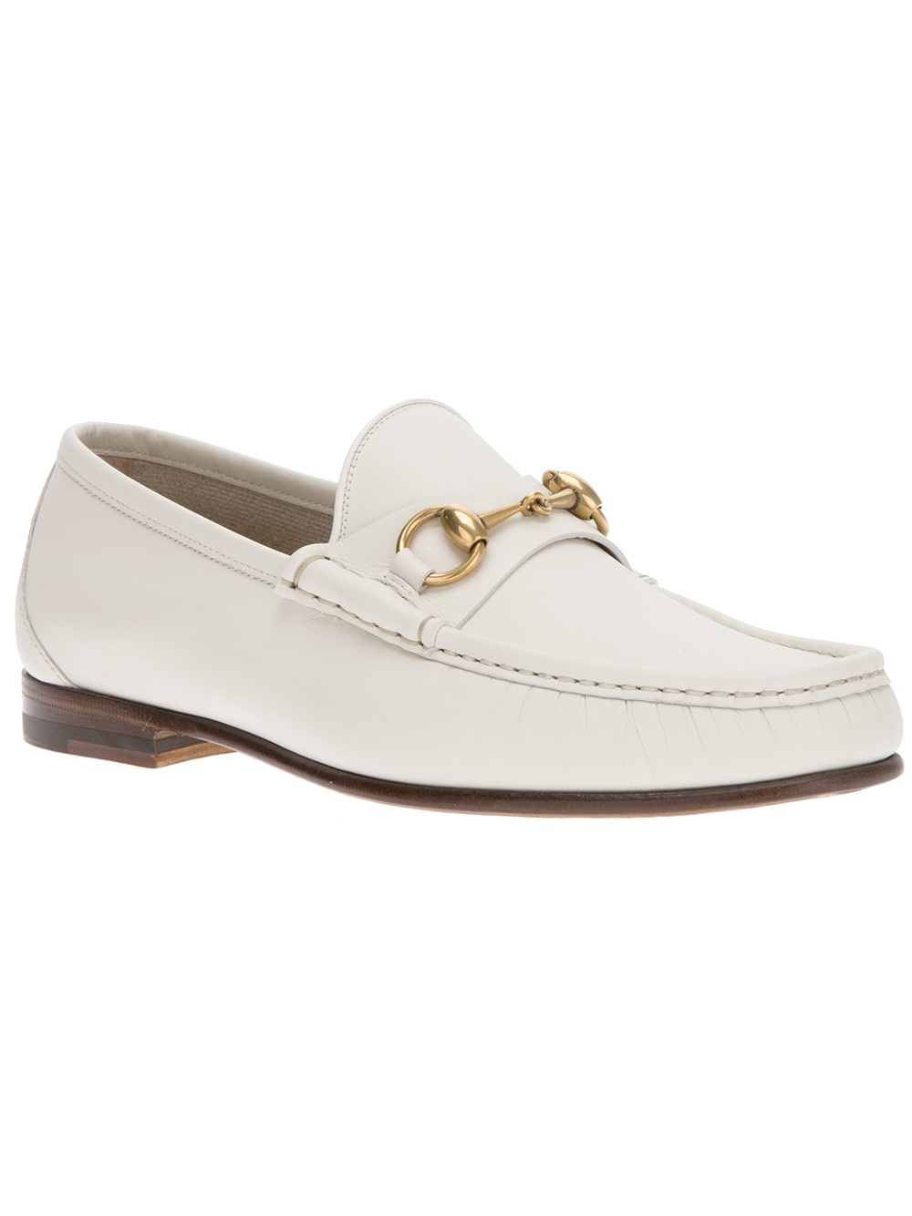 lyst gucci stirrup loafer in white for men