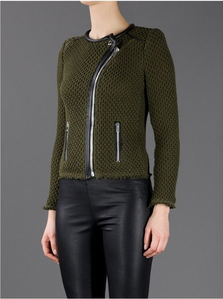 Iro Textured Knit Biker Jacket in Green Lyst