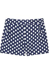 J.Crew Indigo Polkadot Linen and Cotton blend Shorts - Lyst