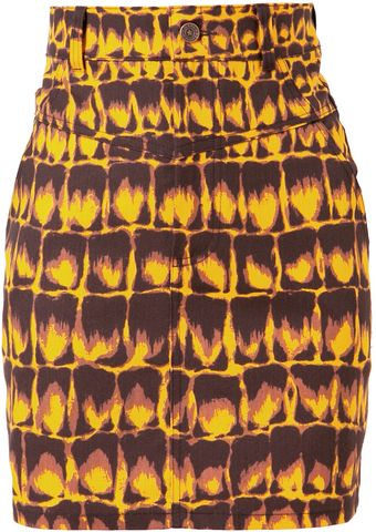 Jeremy Scott Printed Denim Skirt - Lyst