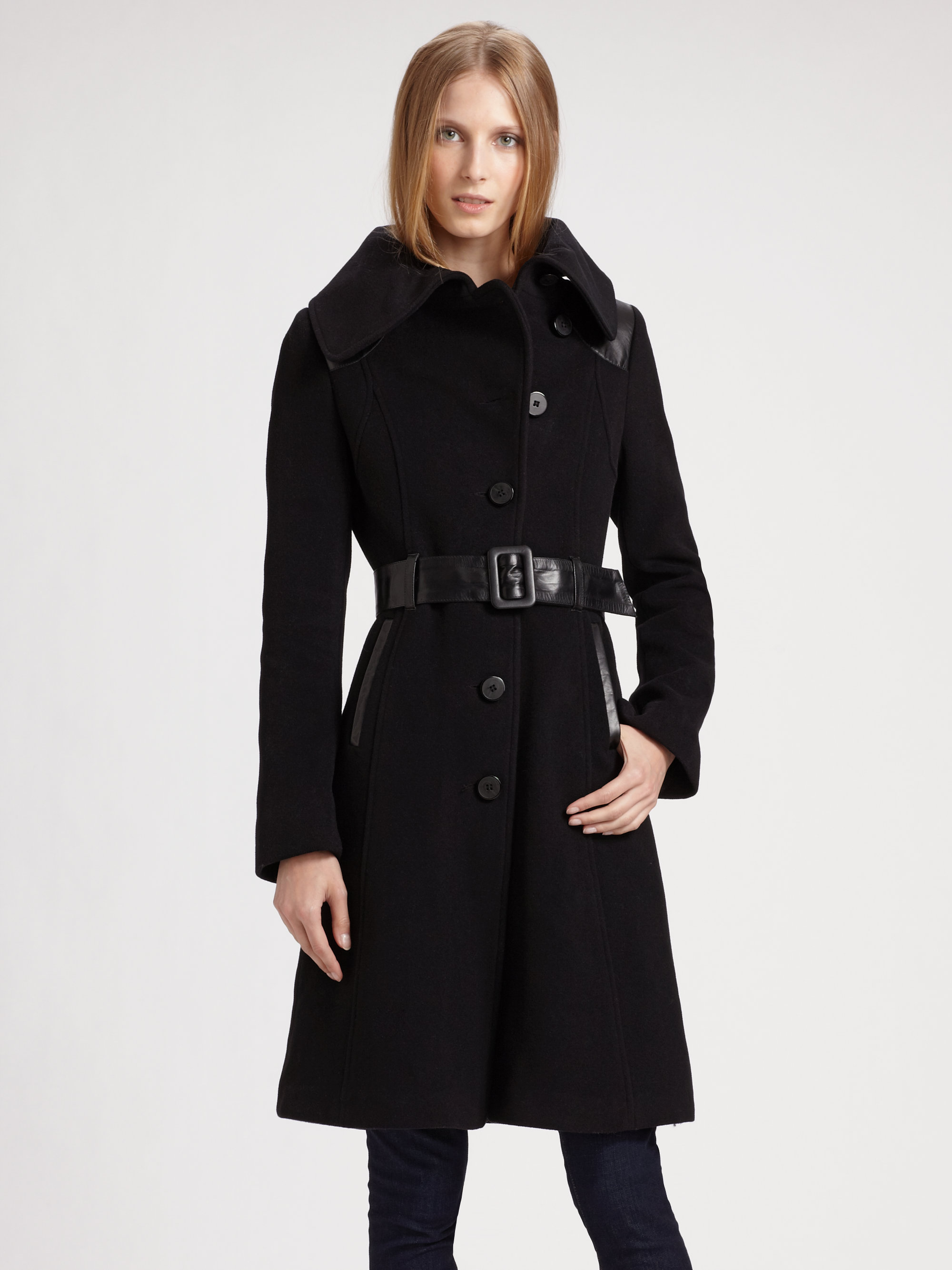 Mackage Aline Wool Coat in Black | Lyst