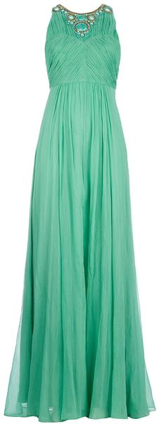 Matthew Williamson Pleated Embroidered Gown - Lyst