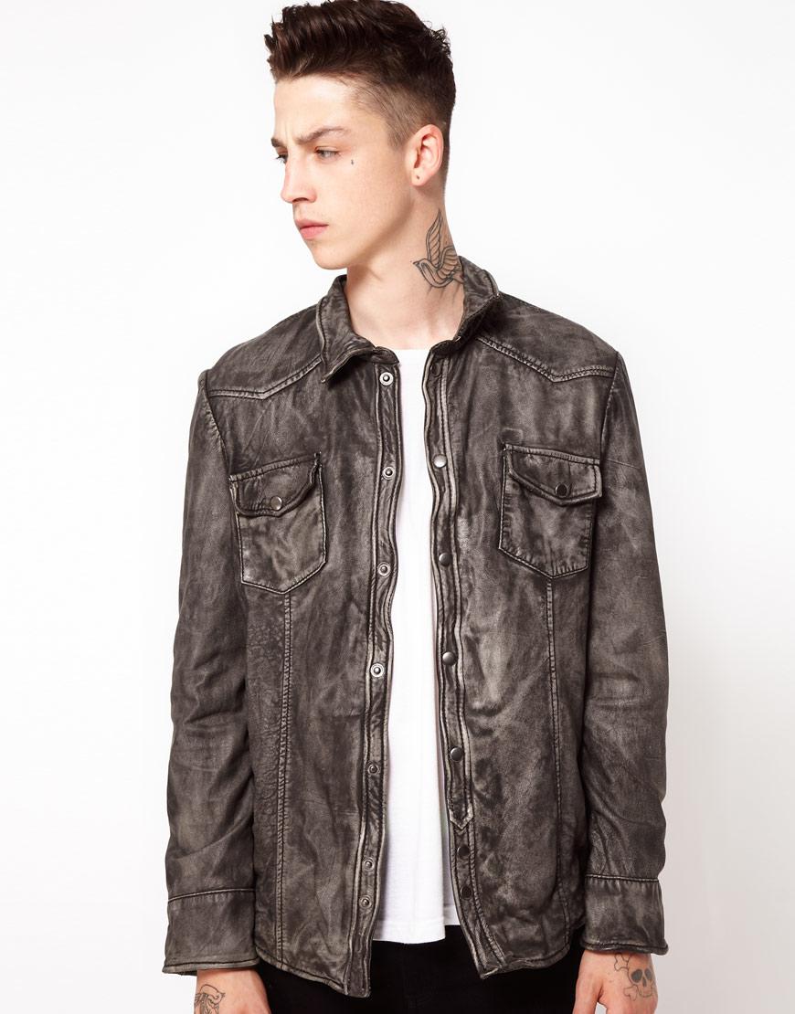 Muubaa Muubaa Leather Jacket Shirt In Gray For Men Lyst