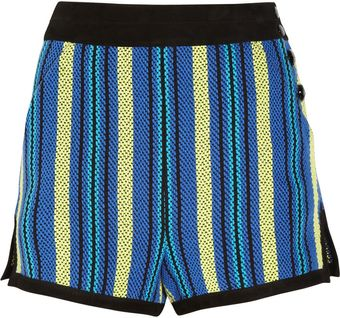 Proenza Schouler Suede Trimmed Striped Tweed Shorts - Lyst