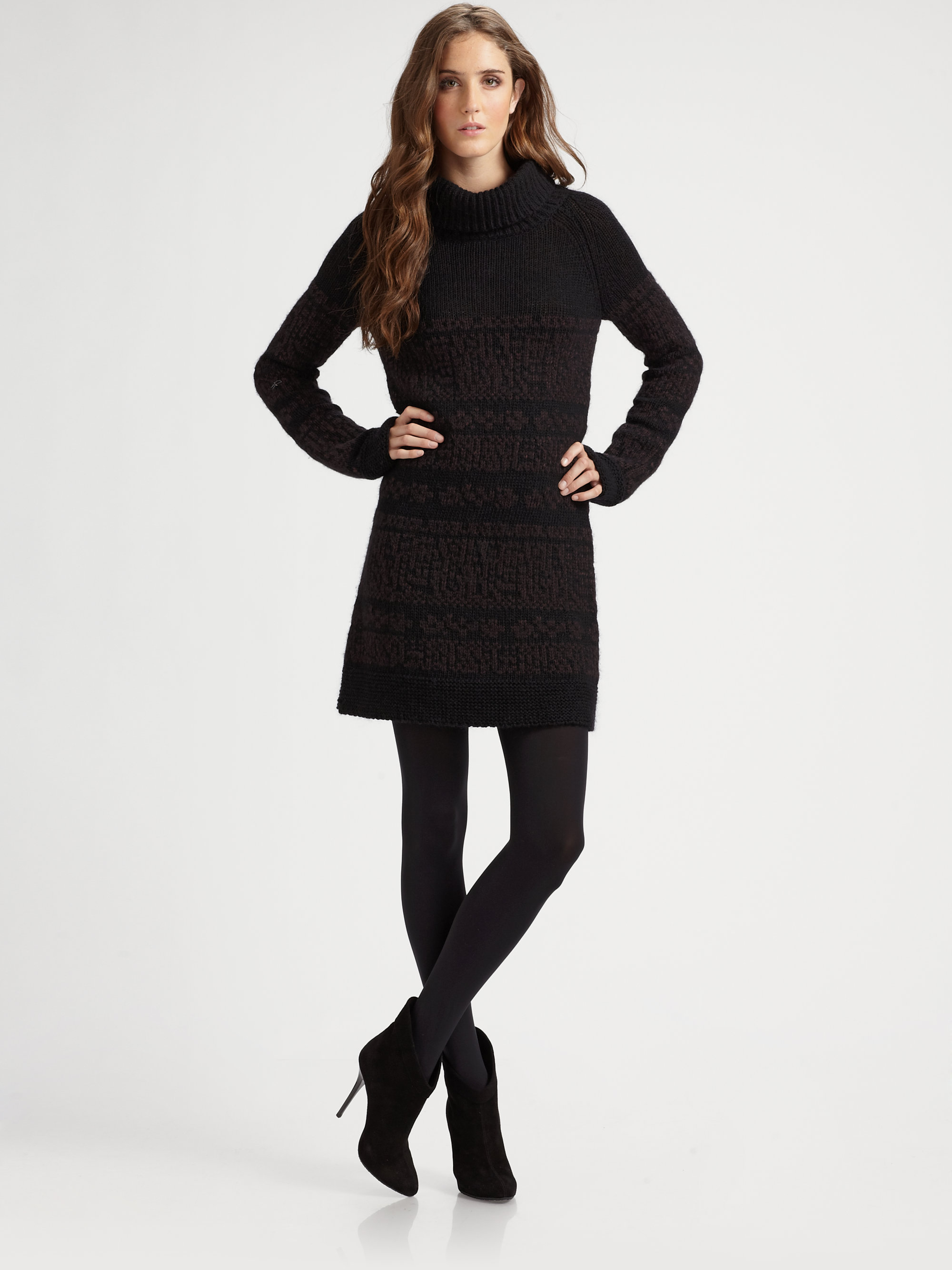 Lyst Theory Shad Wool Blend Turtleneck Sweater Dress In
