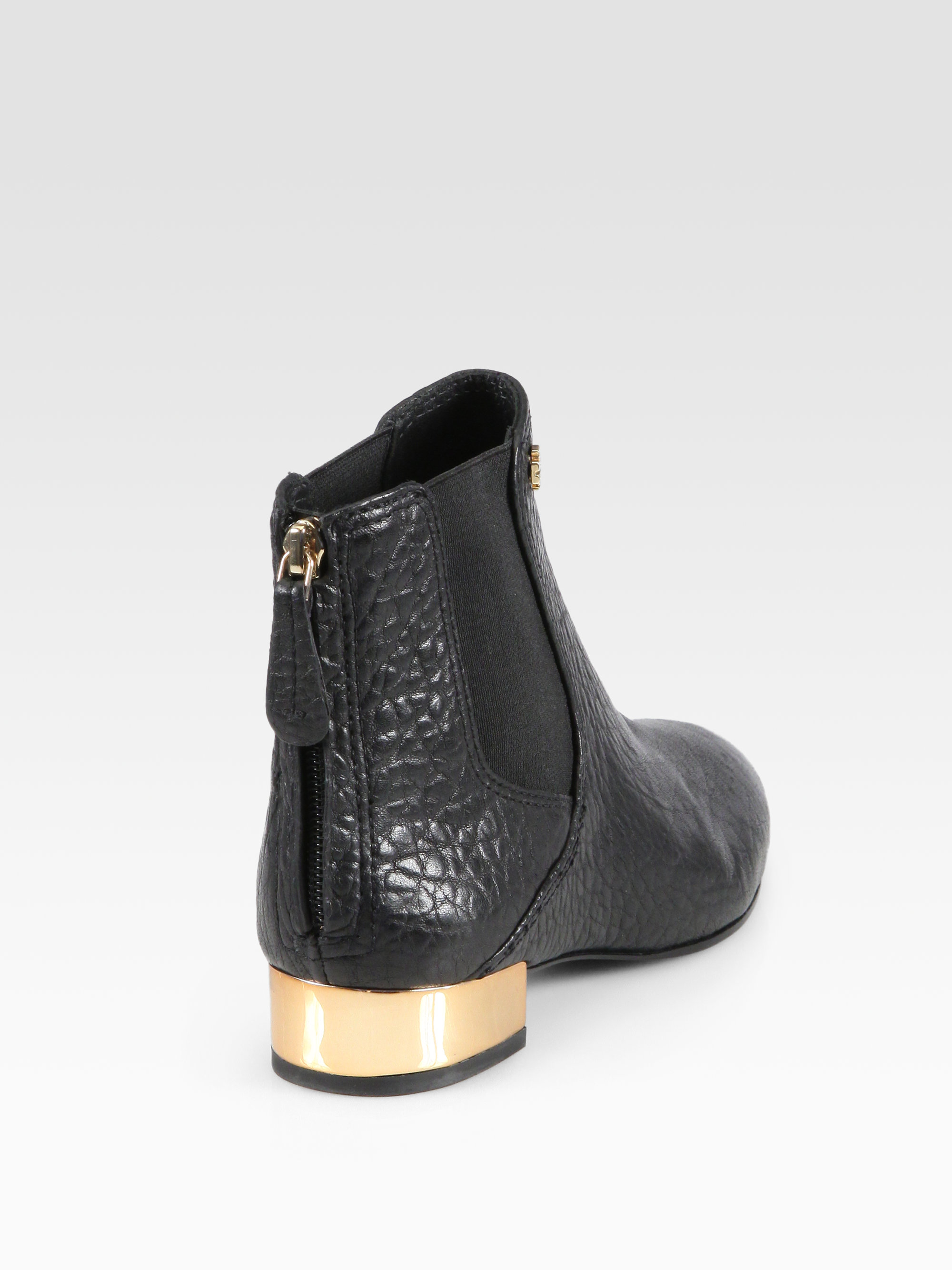 Lyst Tory Burch Adaire Pebbled Leather Ankle Boots In Black