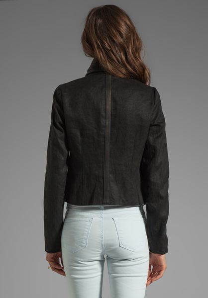 Vince Shawl Collar Leather Jacket In Black Lyst