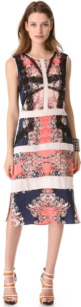 BCBGMAXAZRIA Paneled Printed Dress - Lyst
