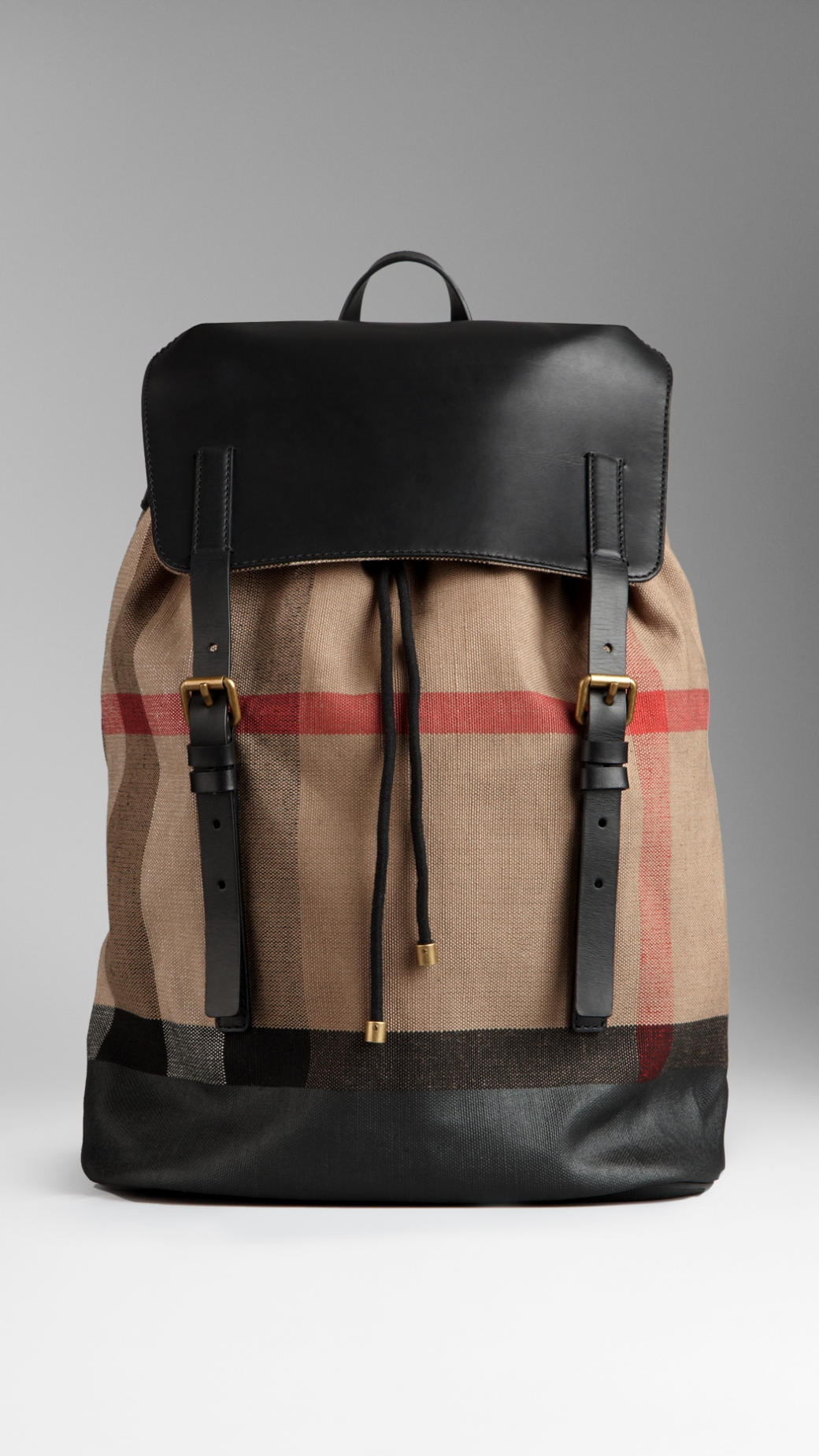 Lyst - Burberry Check Canvas Backpack in Natural for Men