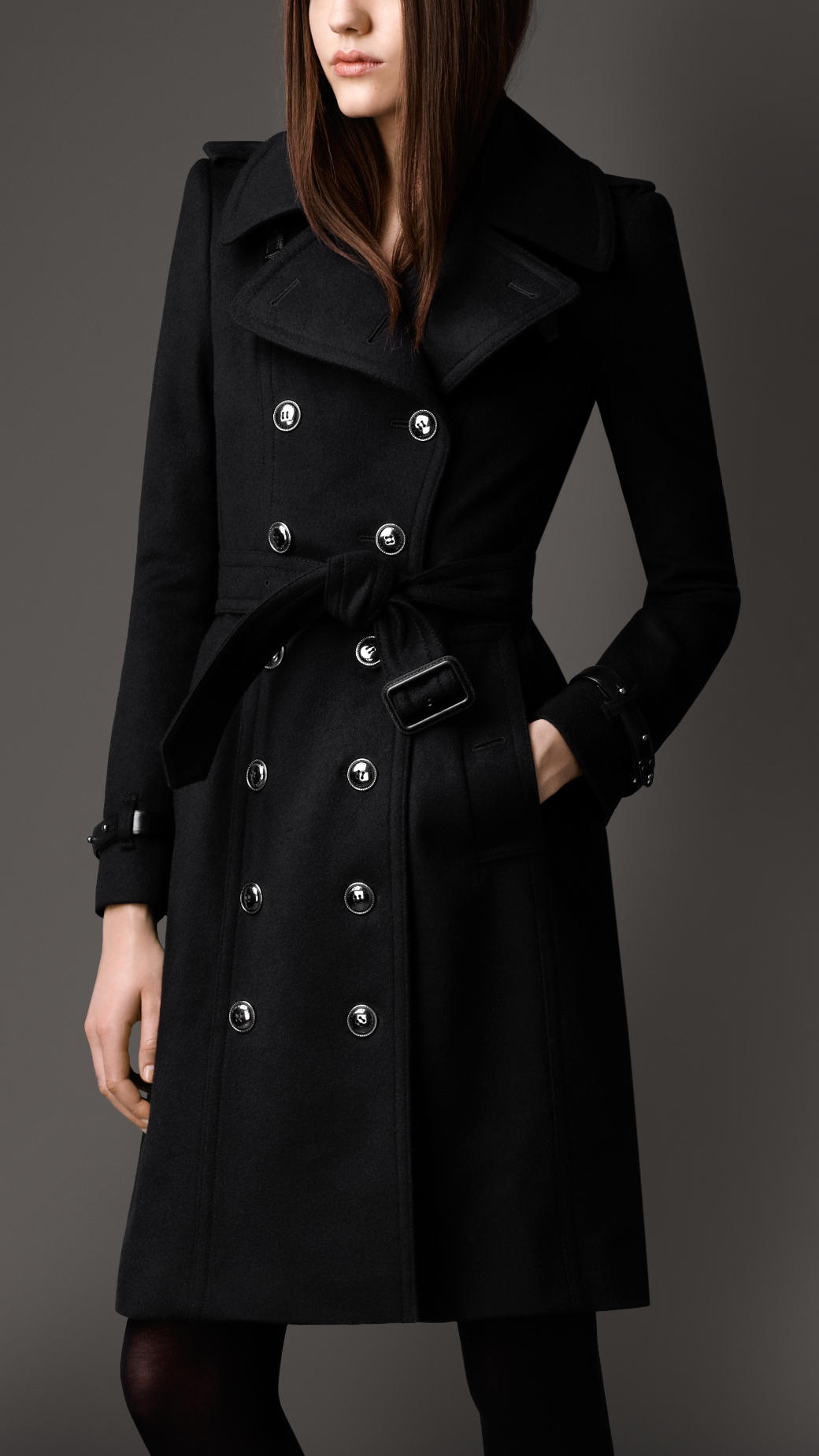 Burberry Long Wool Cashmere Regimental Trench Coat in Black | Lyst