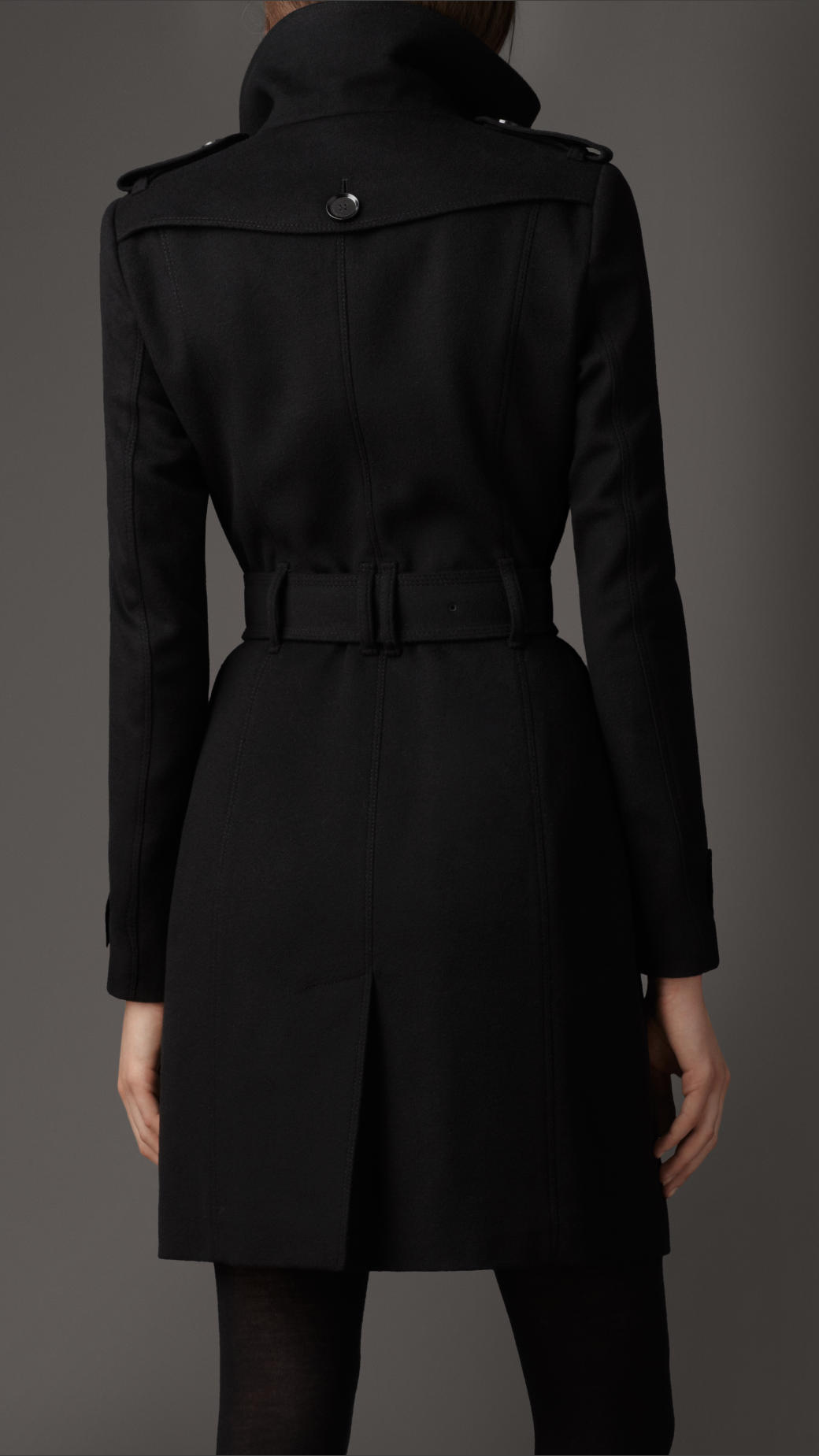Lyst Burberry Fitted Virgin Wool Coat In Black