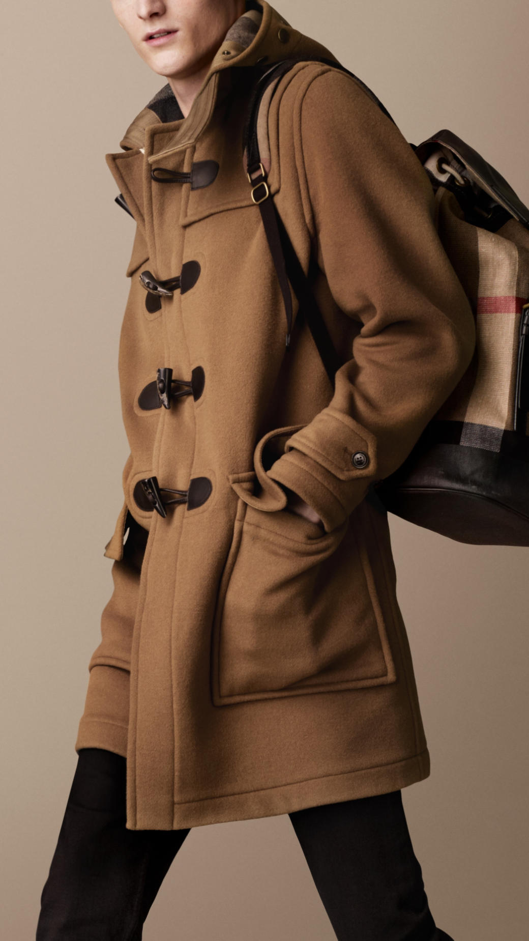 481d95a6c86aa Lyst - Burberry Double Faced Wool Duffle Coat in Natural for Men