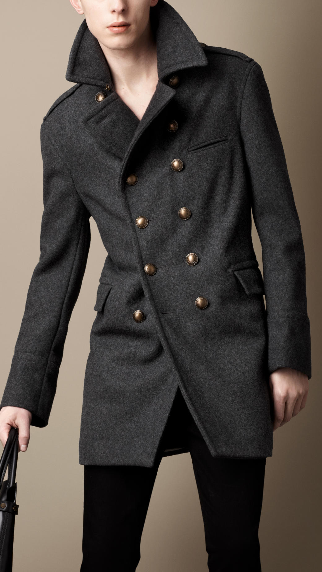 Burberry Melton Wool Blend Military Coat In Gray Lyst