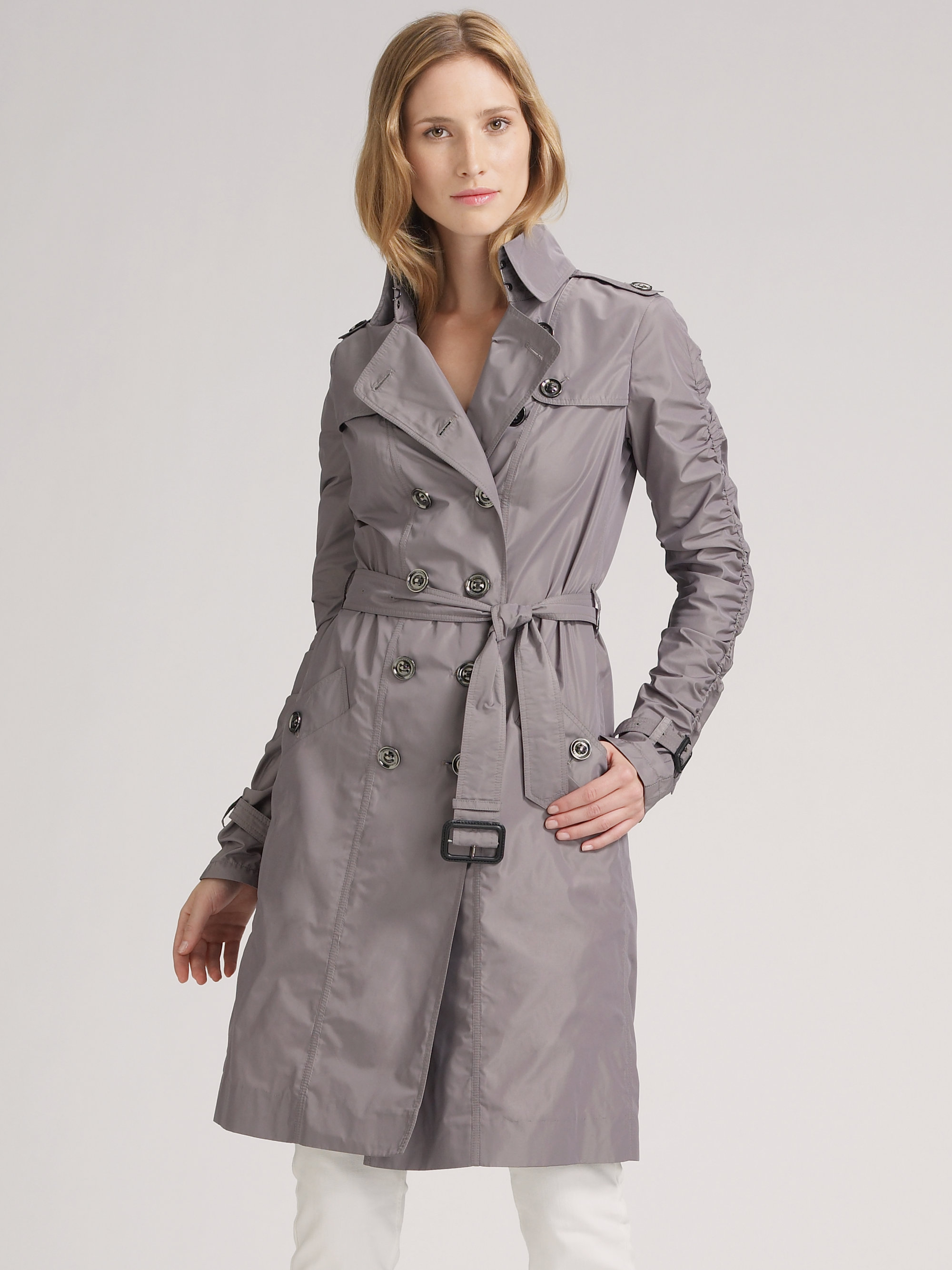 burberry brit double breasted taffeta trench coat in gray. Black Bedroom Furniture Sets. Home Design Ideas