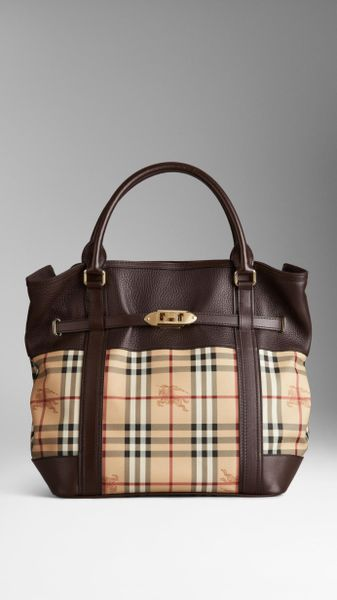 f054214716bc Burberry Medium Leather Haymarket Check Tote Bag in Brown .