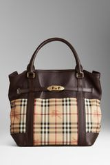Burberry Medium Leather Haymarket Check Tote Bag - Lyst
