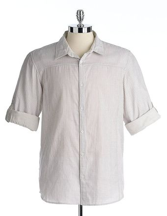 Calvin Klein Cotton Striped Rolltab Shirt - Lyst