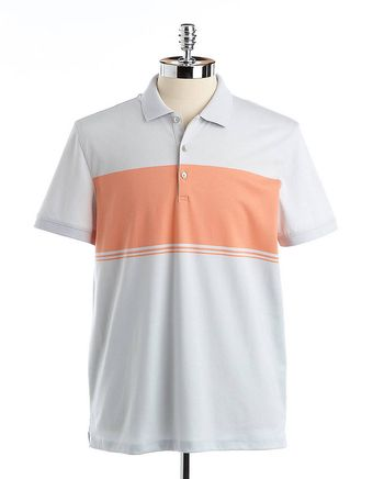 Calvin Klein Striped Liquid Cotton Polo Shirt - Lyst