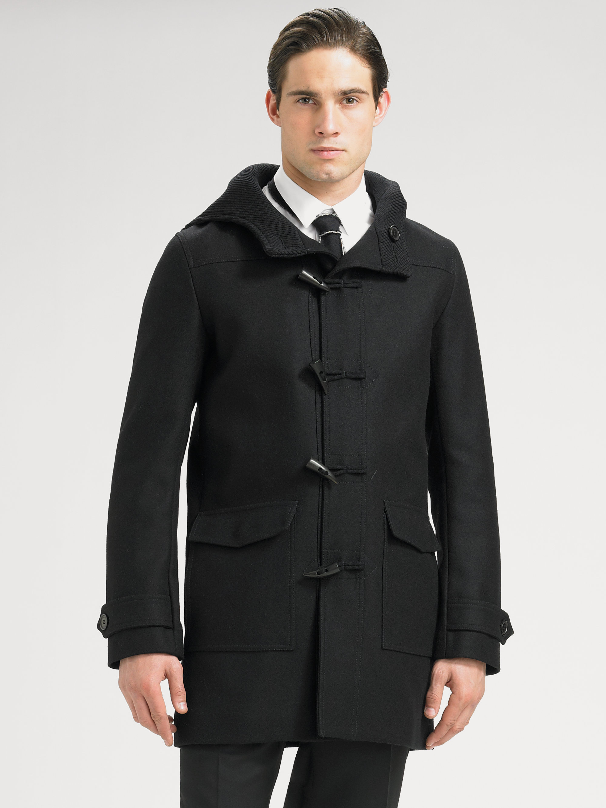 Dior homme Wool Duffel Coat in Black for Men | Lyst