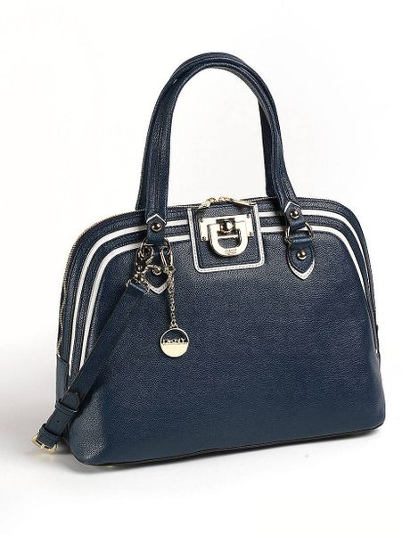 Dkny Heritage Vintage Leather Round Satchel Bag in Blue