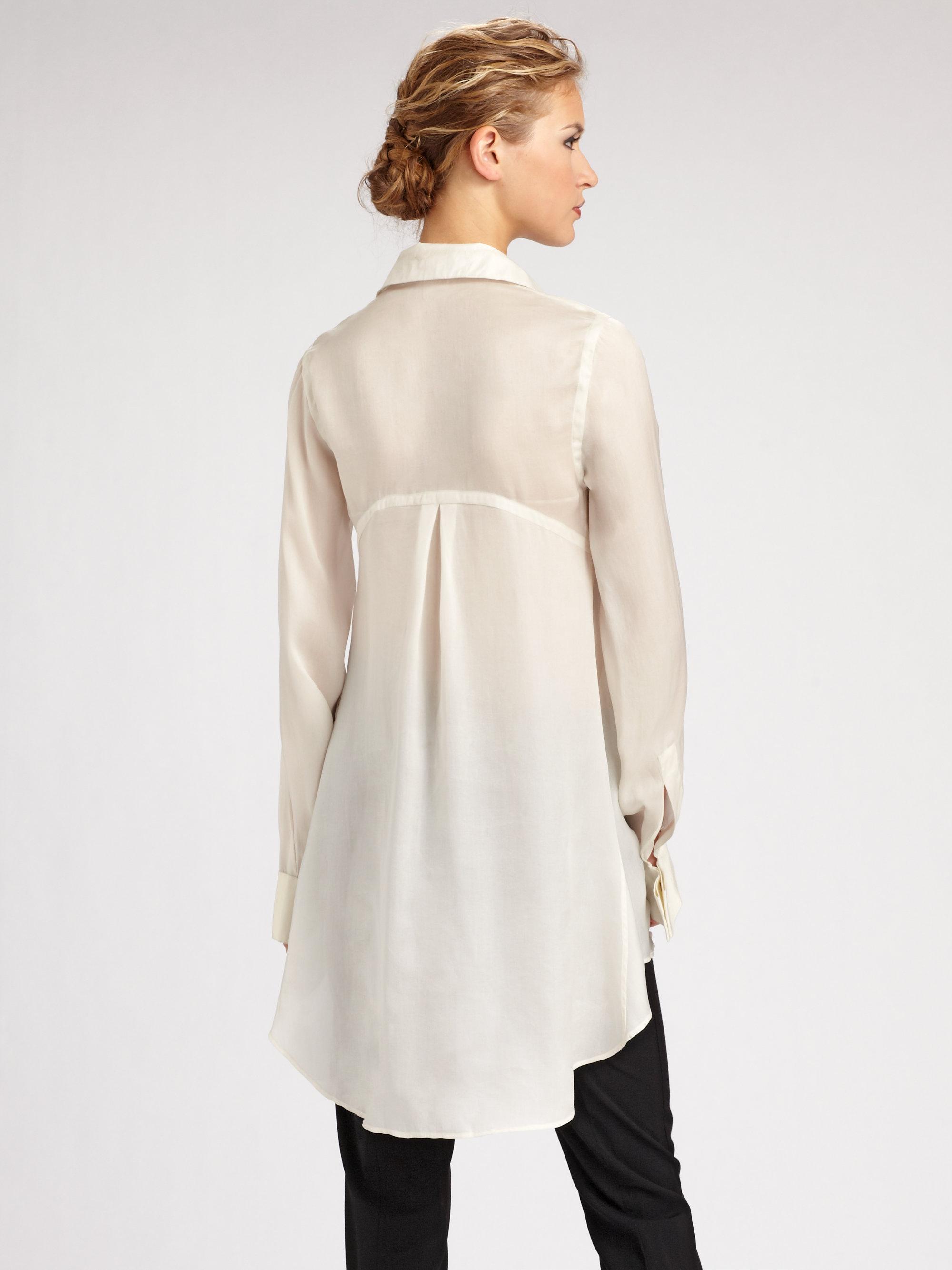 Donna Karan Silk Organza Tunic Blouse 105
