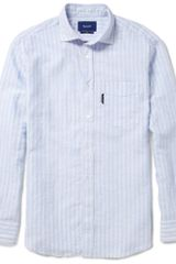 Faconnable Striped Linen and Cottonblend Shirt - Lyst