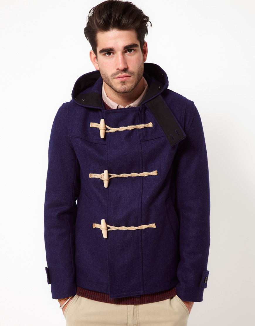 Gloverall Wool Cropped Duffle Coat in Blue for Men | Lyst