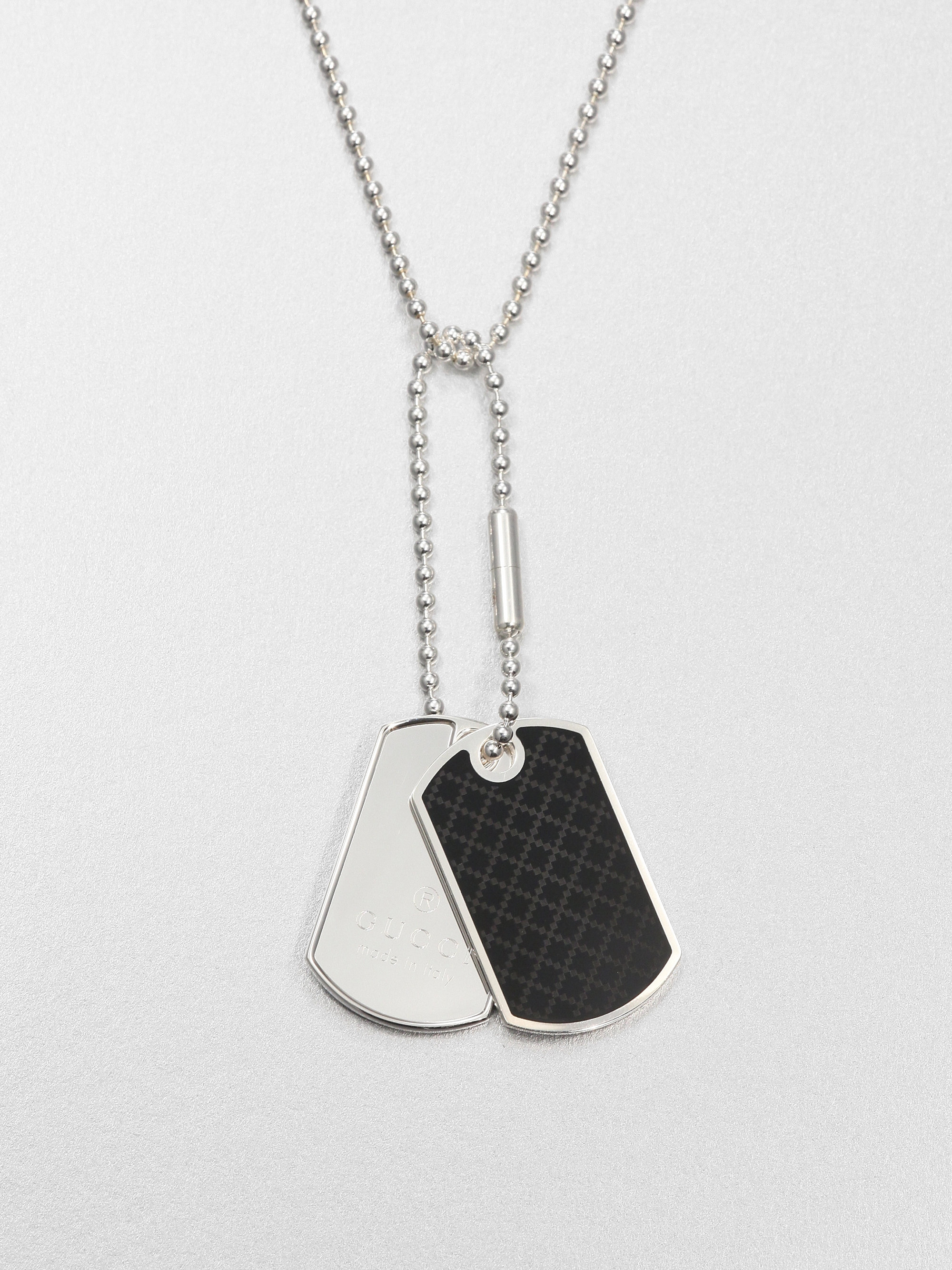 lyst gucci dog tag sterling silver necklace in black for men