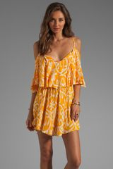 Indah Zhina Flounce Mini Dress in Antik Yellow - Lyst