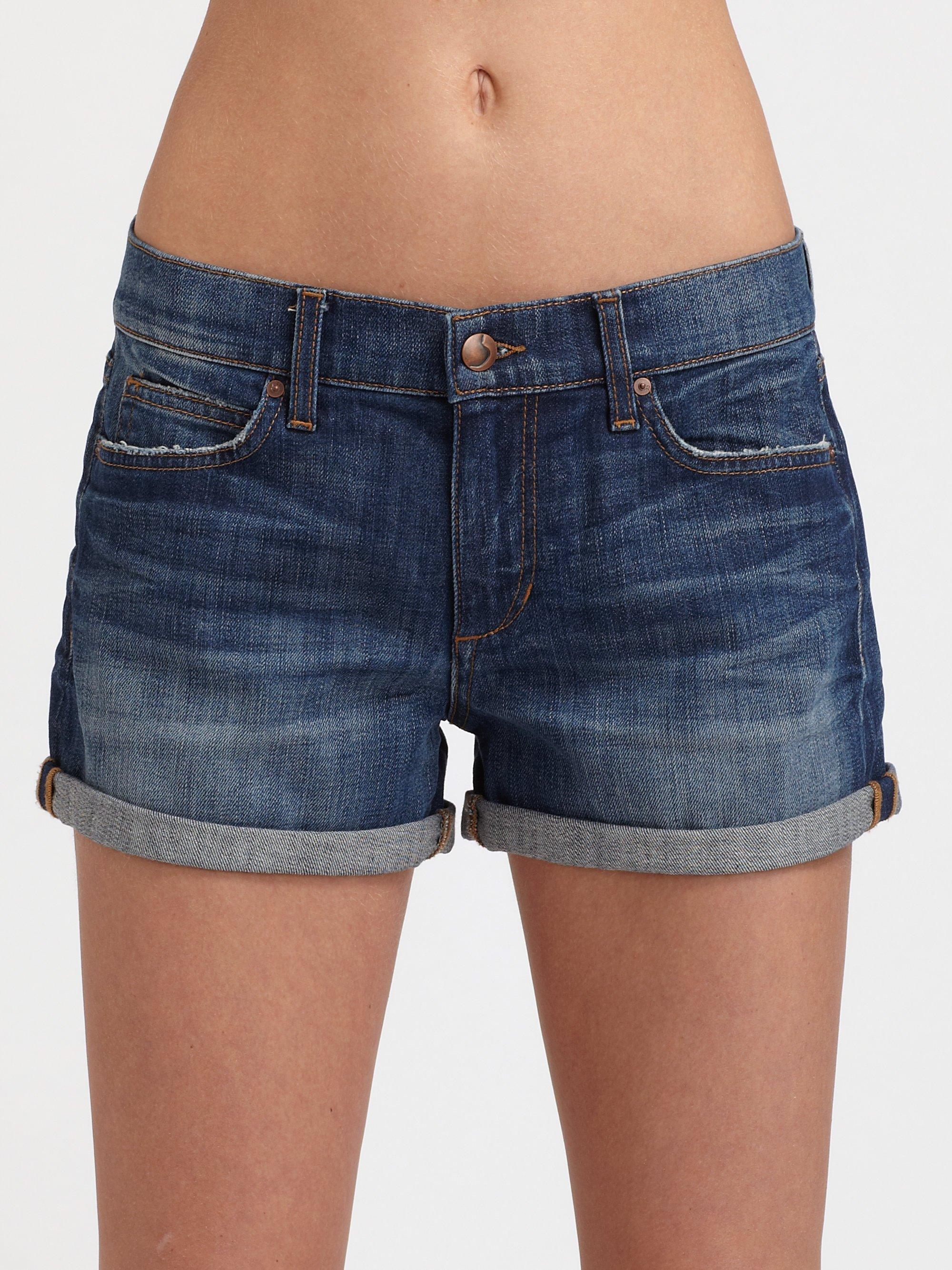 Joe's jeans Cuffed Midrise Denim Shorts in Blue | Lyst