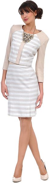 Kay Unger Textured Metallic Stripe Skirt - Lyst