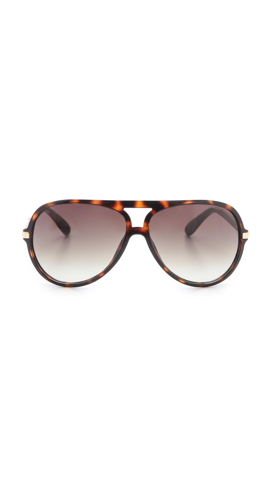 91e0d3e1baa Lyst - Marc By Marc Jacobs Oversized Aviator Sunglasses - Havana in ...