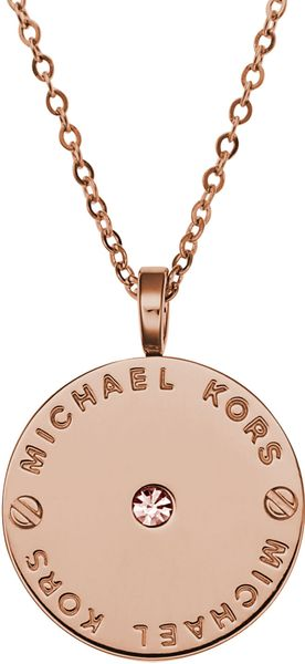 Michael Kors Logo Disc Necklace - Lyst