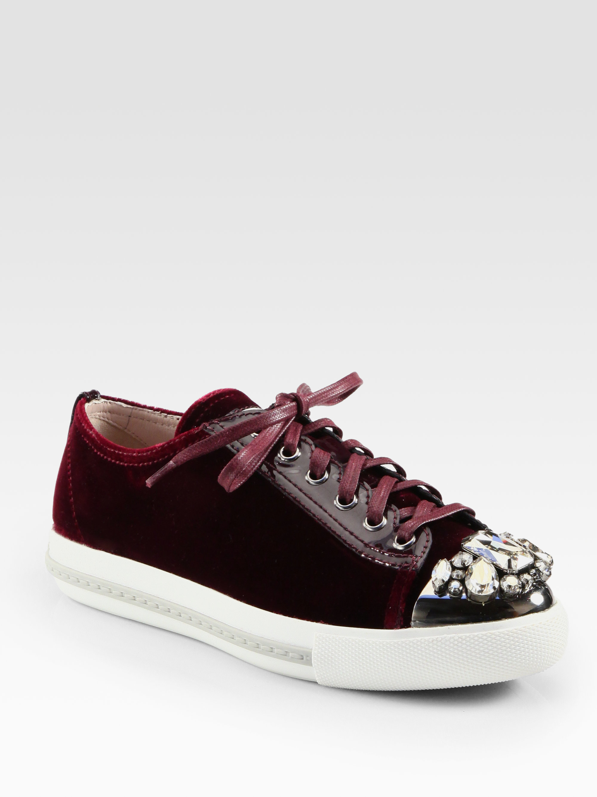 miu miu velvet jeweled laceup sneakers in red lyst. Black Bedroom Furniture Sets. Home Design Ideas