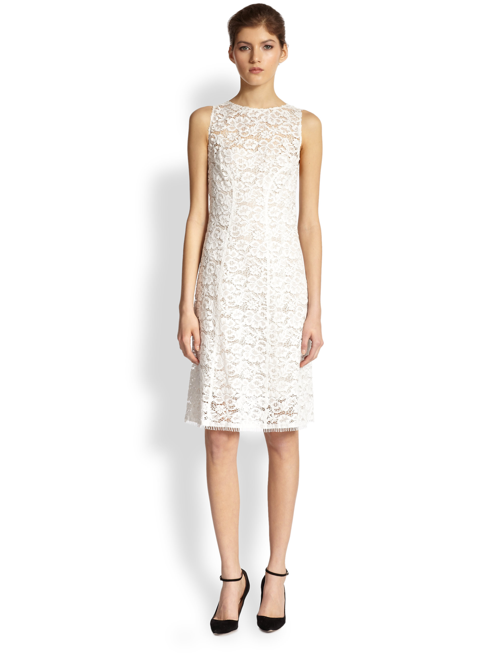 Lyst - Nina Ricci Lace Illusion Dress in White 615b62e3a