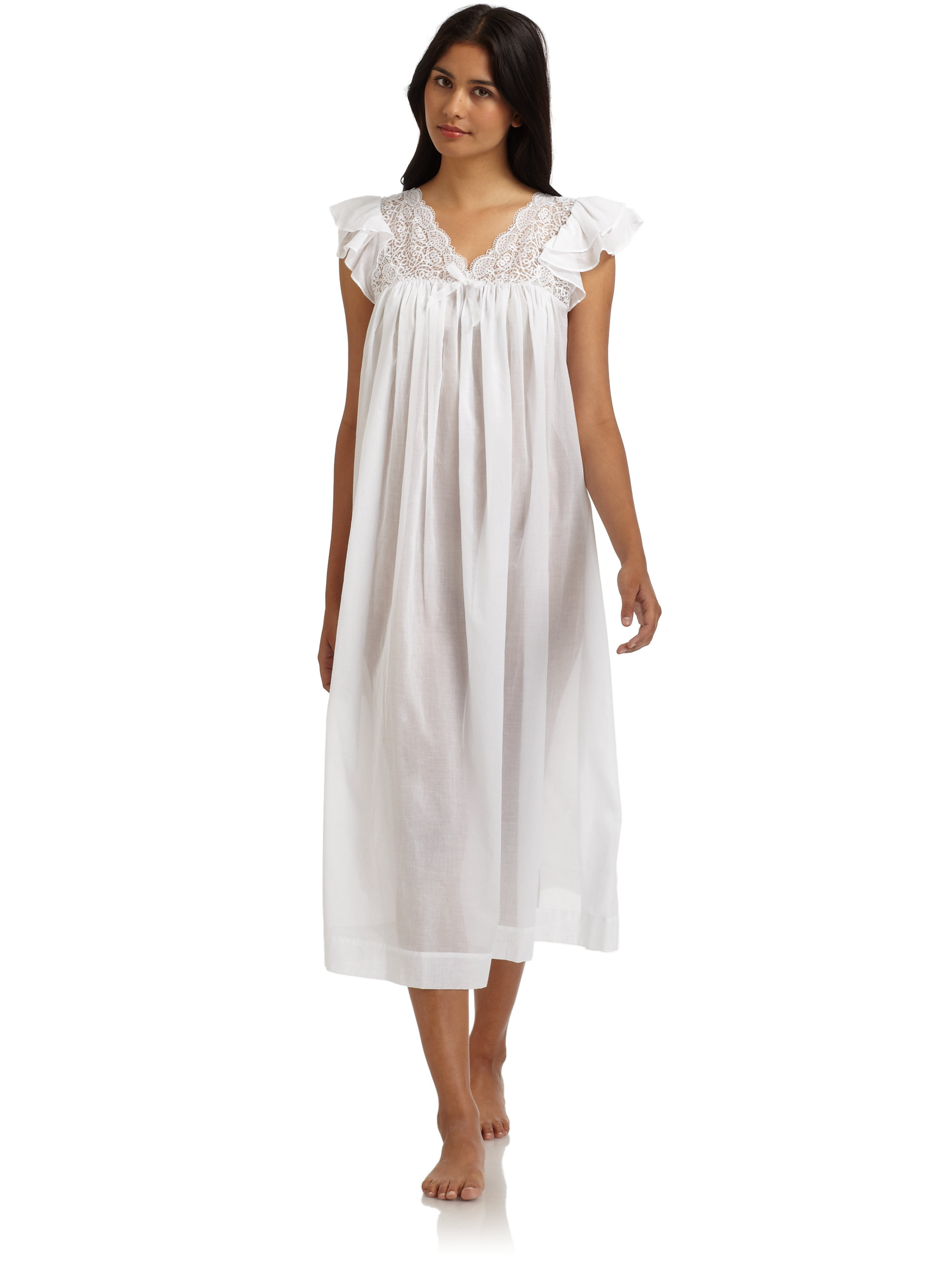 Lyst - Oscar De La Renta Delicate Whisper Cotton Lawn Lace Nightgown ...